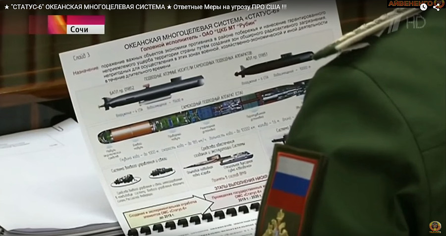 The existence of Russia's Status-6 UUV, an intercontinental-range nuclear torpedo, was first revealed by a Channel One news report in 2015. — Picture: Channel One.
