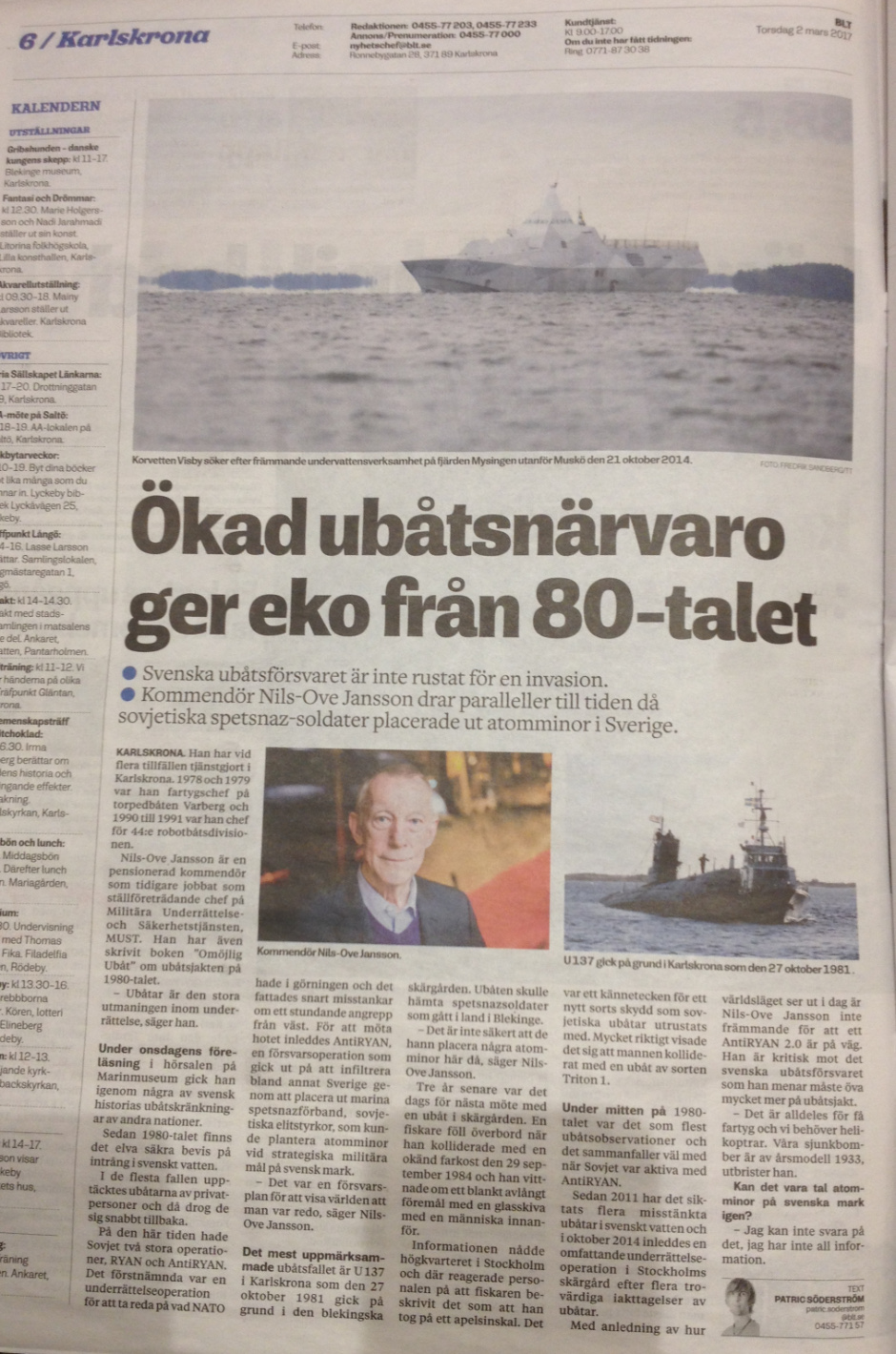 Swedish news article on Cold War imcursions